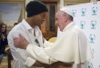 Pope Francis embraces Brazilian soccer star Ronaldinho during a meeting with the Scholas Occurrentes, an educational organization founded by the Pope, at the Vatican, Wednesday, Feb. 3, 2016. (L'Osservatore Romano/Pool photo via AP)